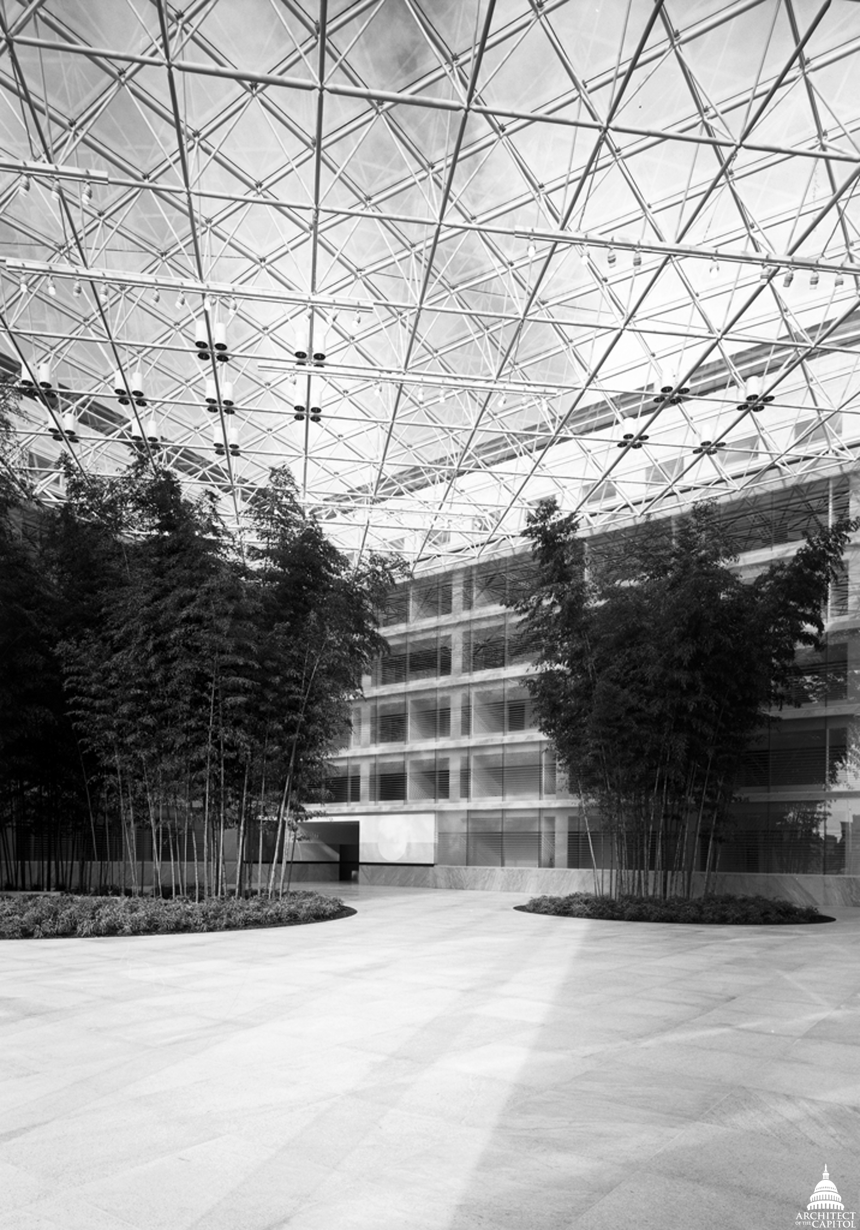 Interior view of the Thurgood Marshall Building's atrium and bamboo planters.