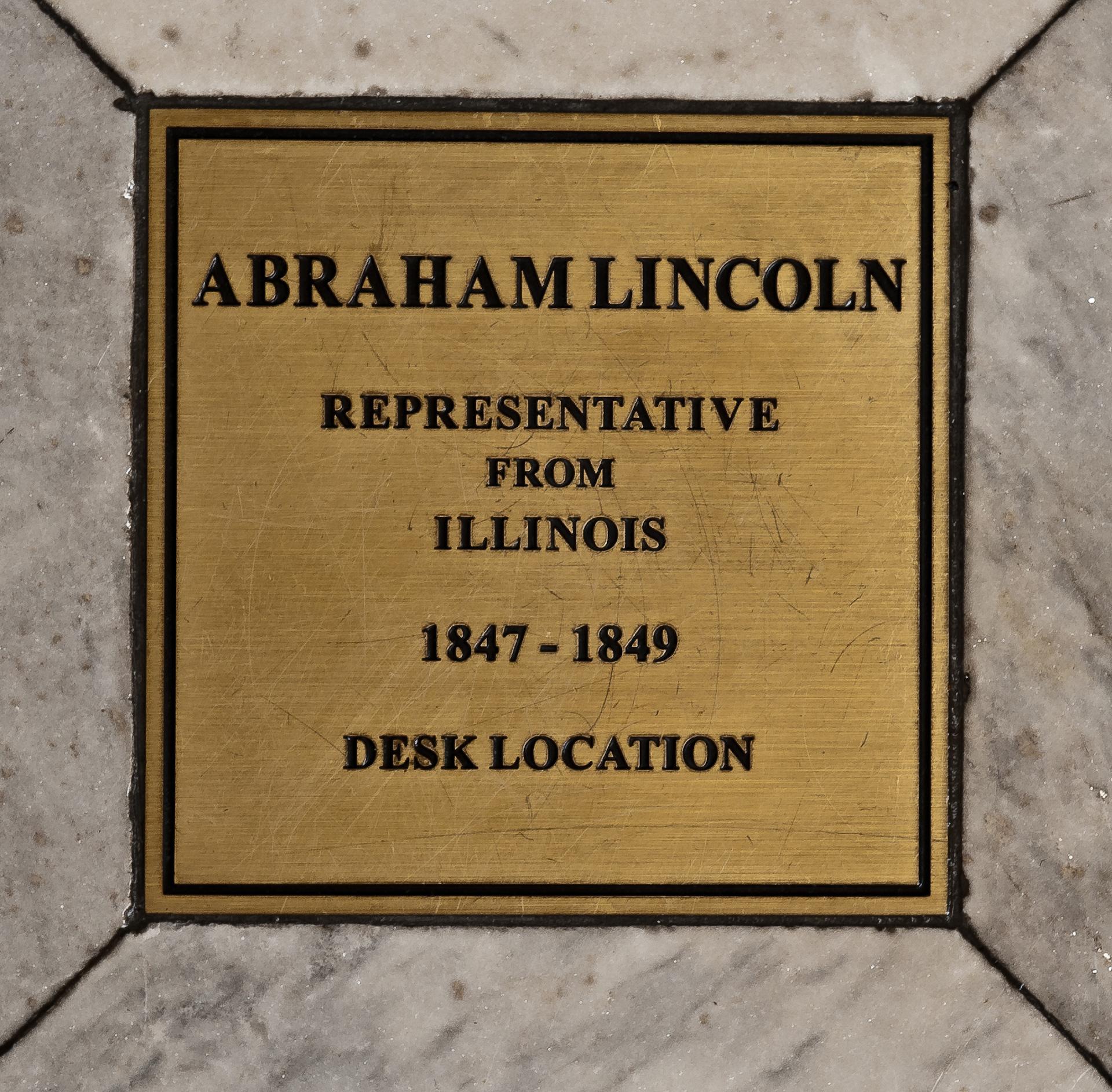 Floor bronze marker of Abraham Lincoln's desk.