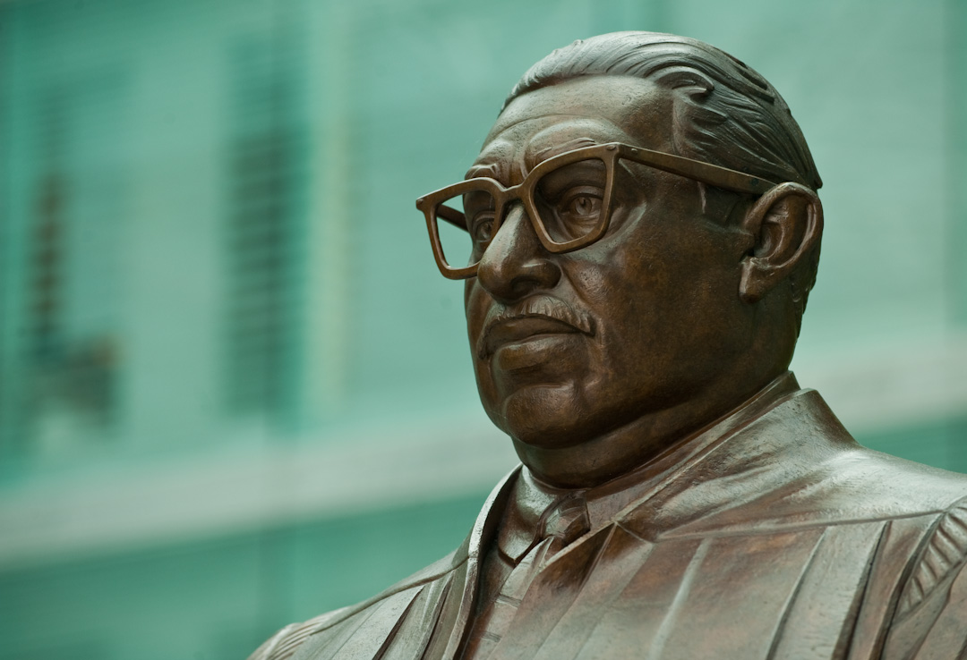 Bust of Thurgood Marshall.