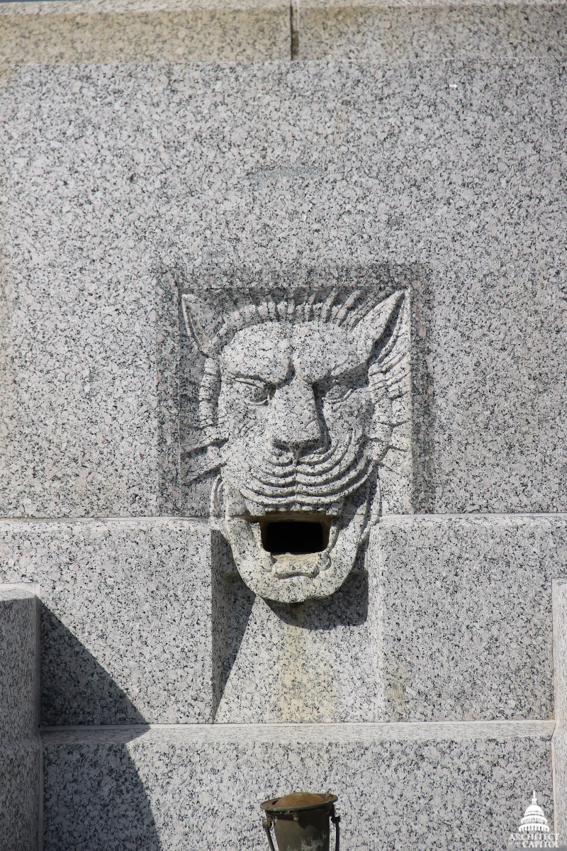 Lion-head spout on the Senate Fountain