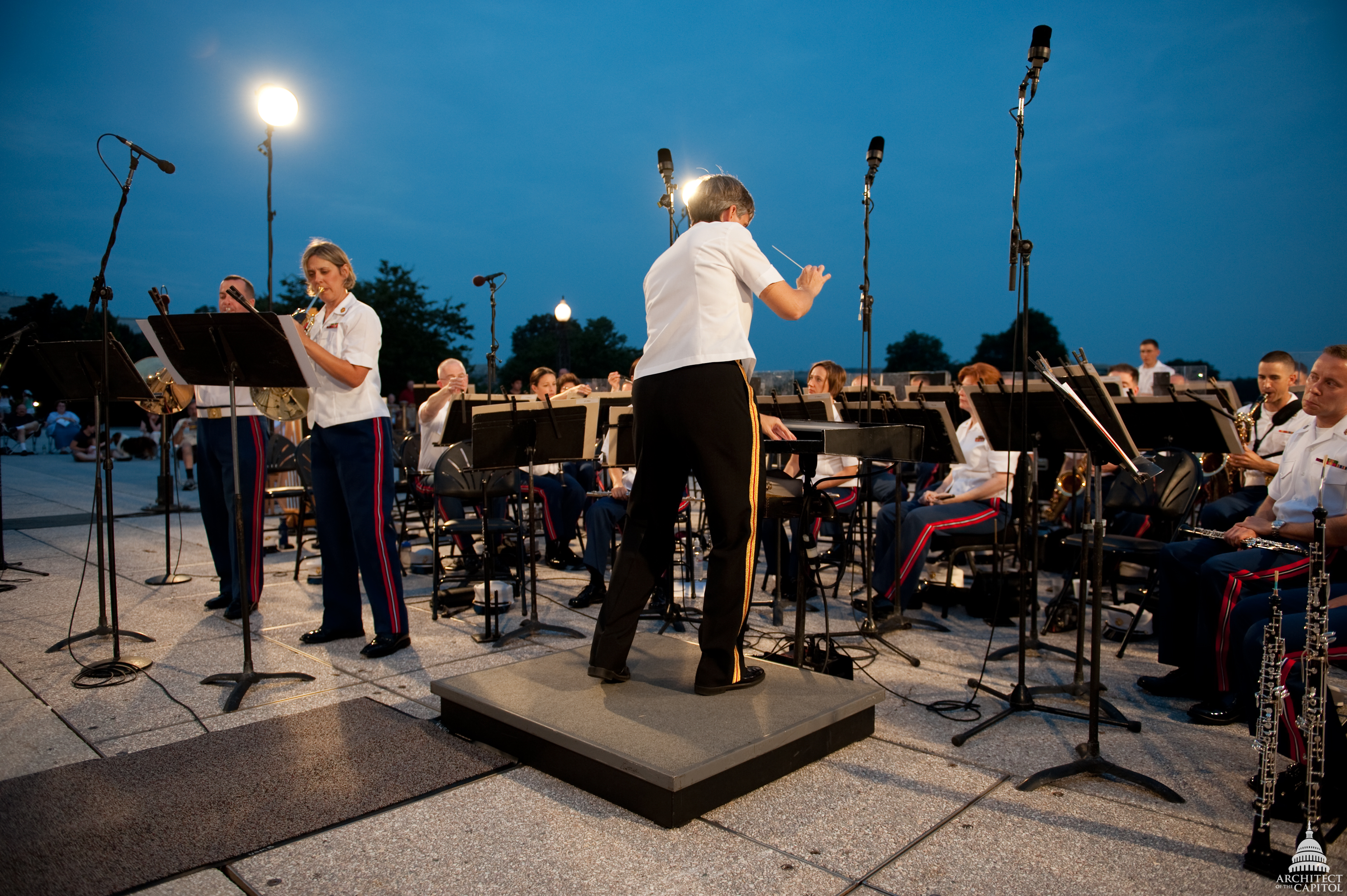 The U.S. Marine Corps Band performs on the West Front of the Capitol as part of the 2009 Summer Concert Series.