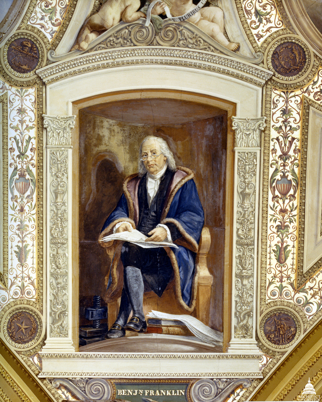 Benjamin Franklin portrait in the President's Room in the Senate Wing of the Capitol.