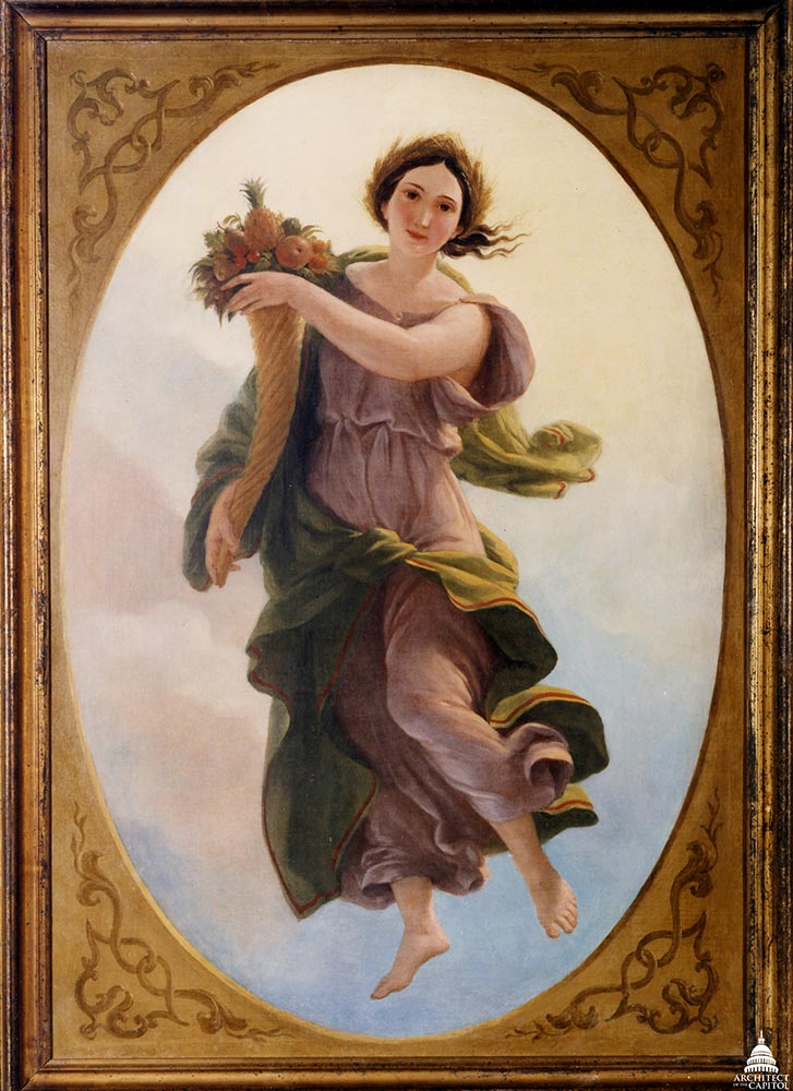 "Oil on canvas of ""Plenty"" by Brumidi. Donated to the U.S. Capitol in 1994."