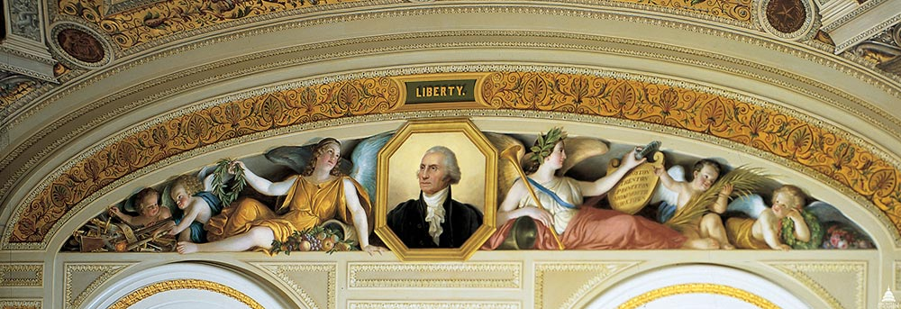 The south wall of The President's Room featuring a lunette with a portrait of George Washington.