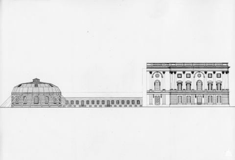 """The temporary House Chamber, or """"oven,"""" on the left was joined to the north wing on the right by a low wooden gangway."""