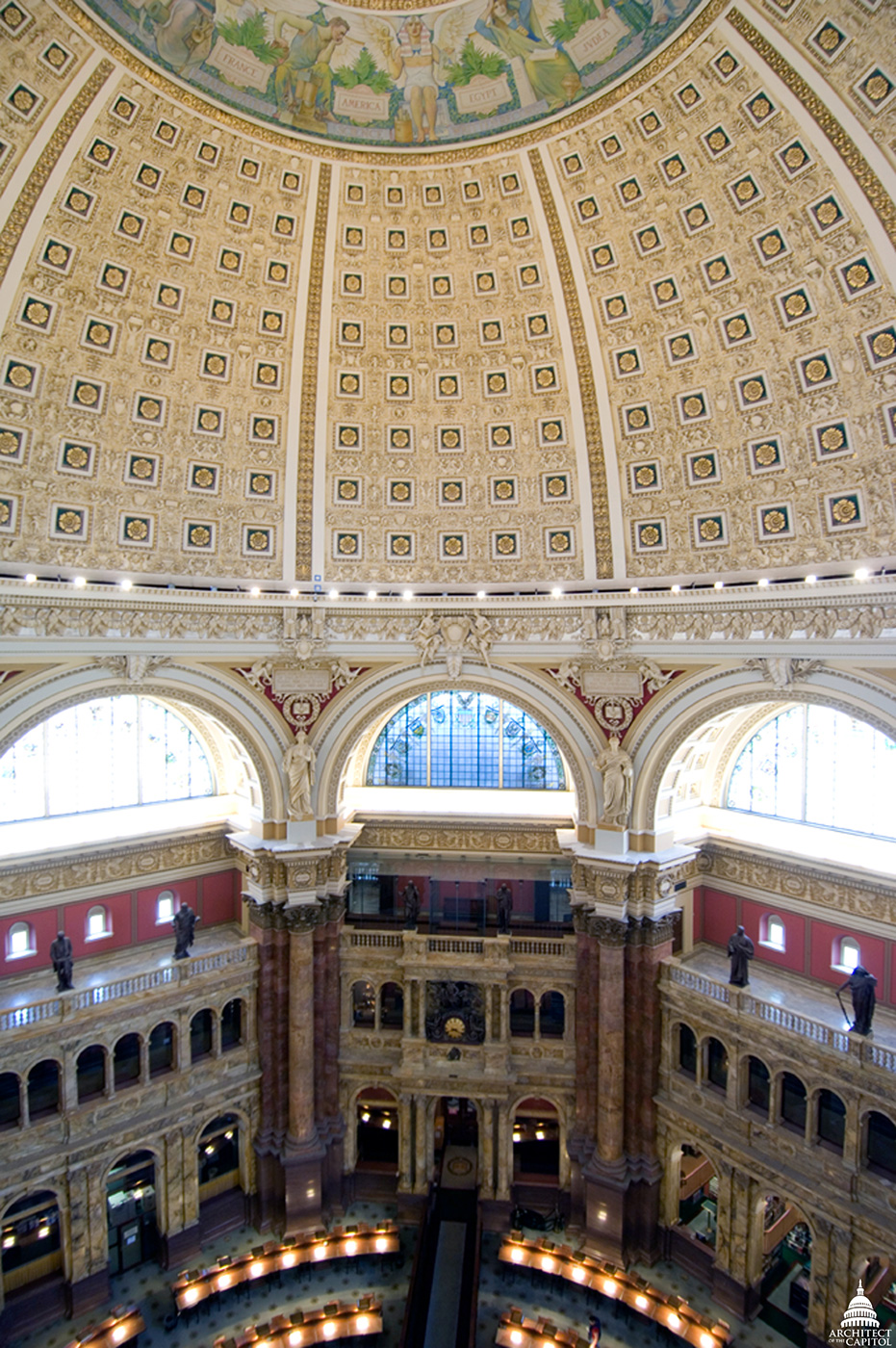 The Main Reading Room of the Library of Congress Thomas Jefferson Building.