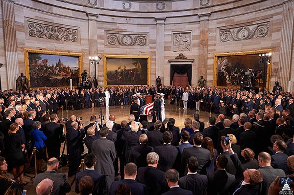 Senator John McCain lying in state in the U.S. Capitol Rotunda.
