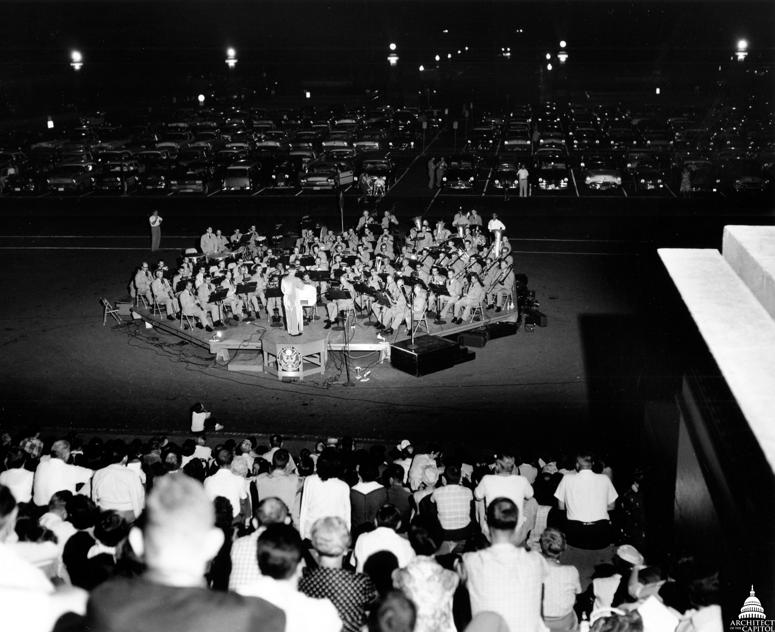 The last band concert on the Capitol's East Front in 1958 before construction of the extension.