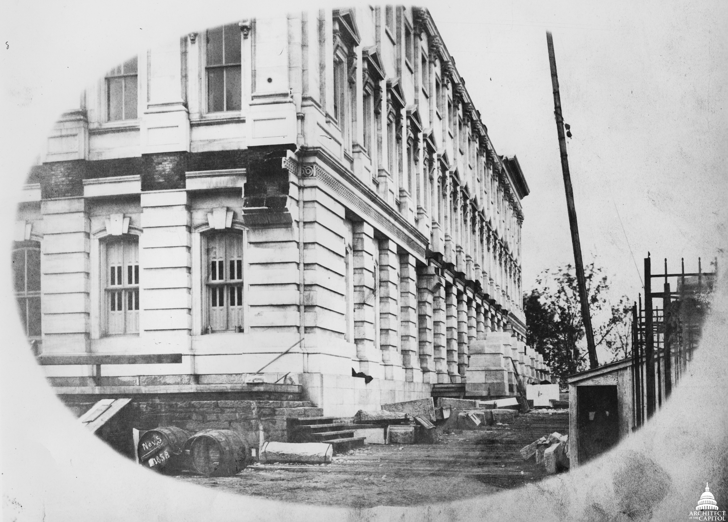 Northeast corner of the Senate wing showing progress on the east portico, 1858.