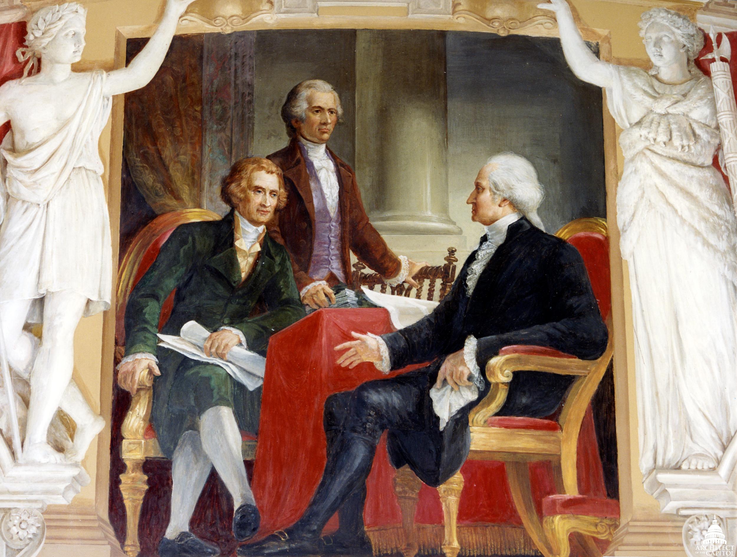 Constantino Brumidi's Washington with Jefferson and Hamilton.