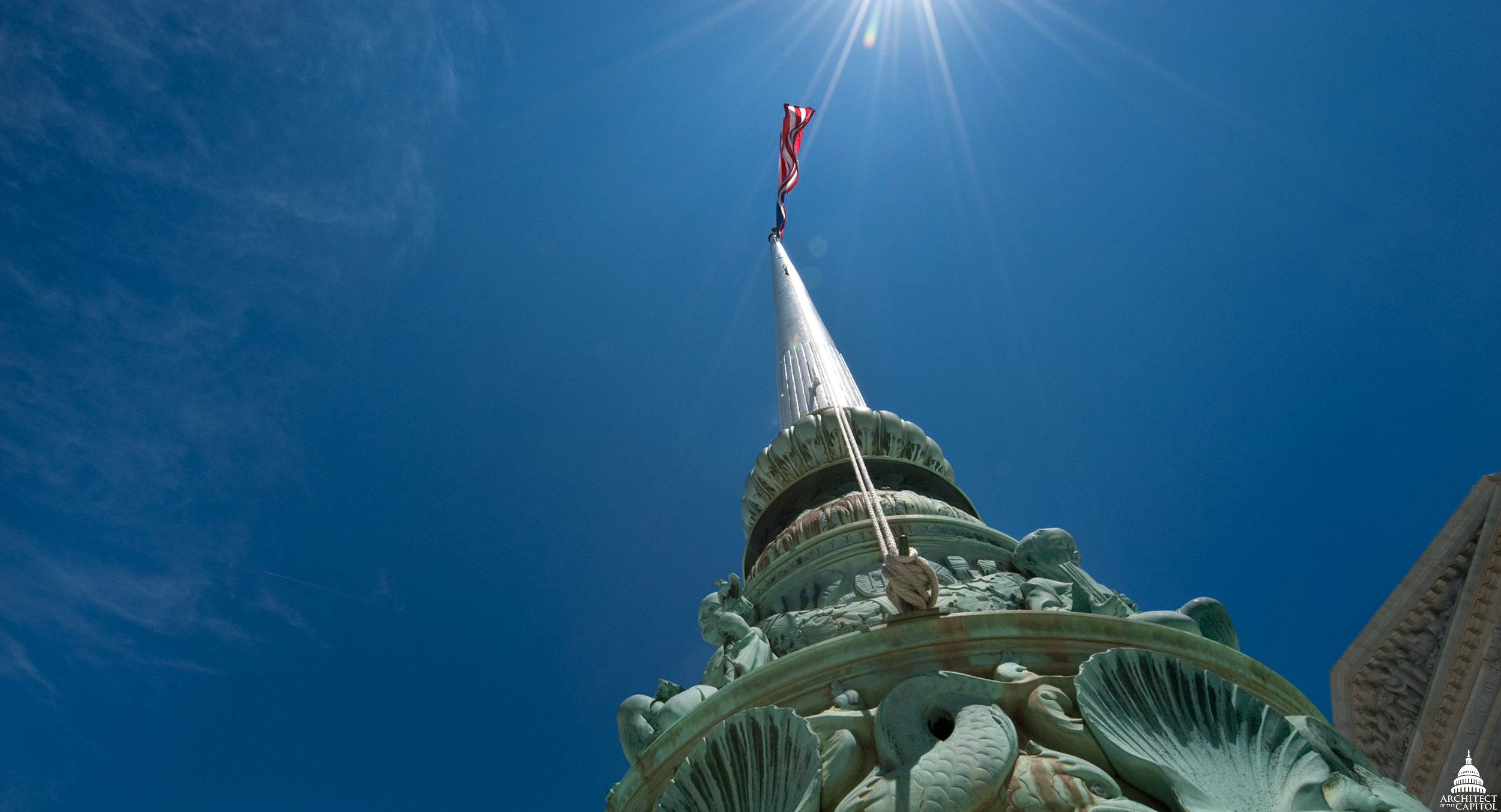 Flag pole on the terrace of the U.S. Supreme Court.