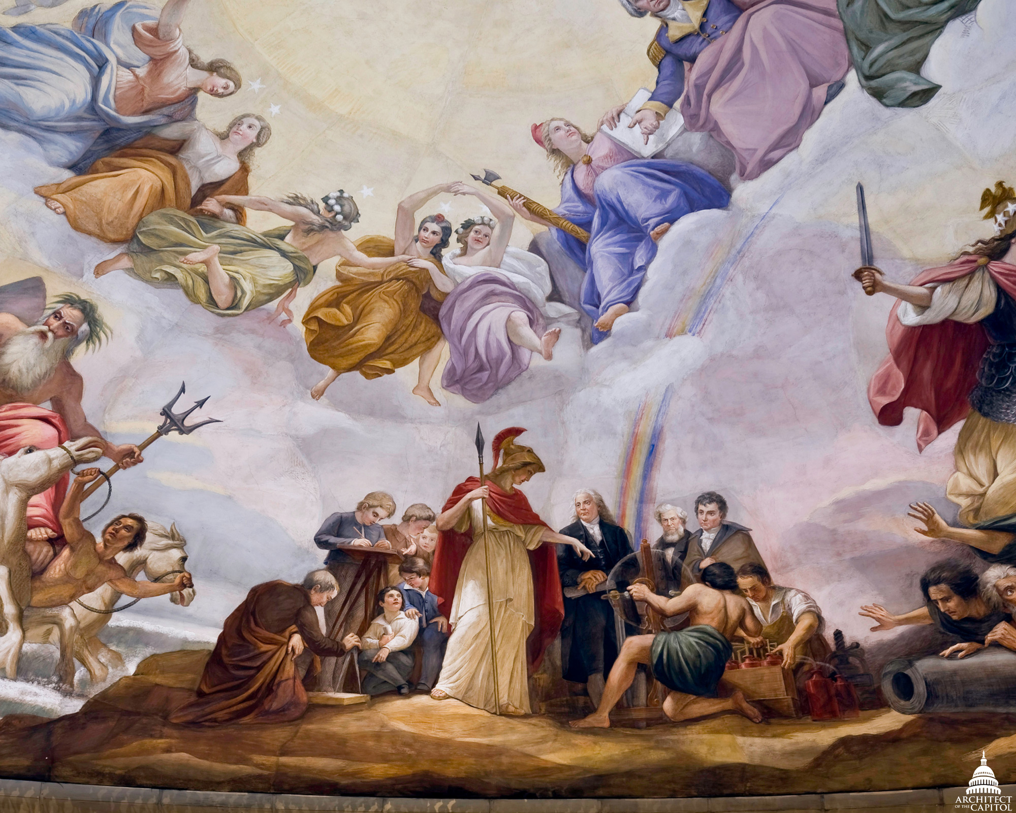 Apotheosis of Washington group Science, with Minerva teaching Benjamin Franklin, Robert Fulton, and Samuel F.B. Morse.