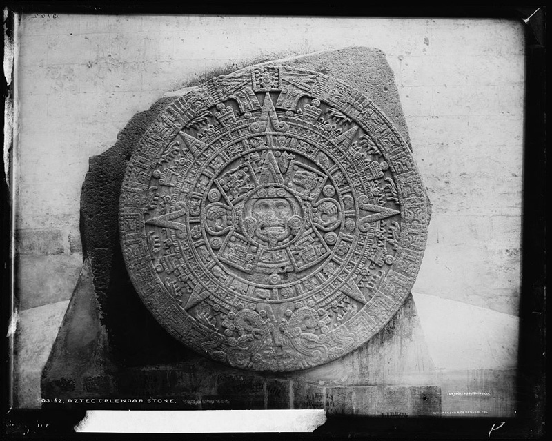 Image of Aztec Calendar Stone, now located in Museo Nacional de Antropologia in Mexico.