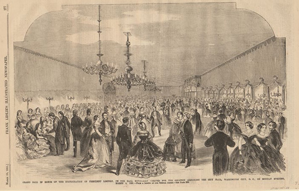The ballroom built by Job W. Angus for the grand ball to celebrate President Lincoln's first inauguration in 1861. It featured many gas lamp fixtures to illuminate the interior, which was reported to be large enough to accommodate 3,000 people. Image courtesy of Anne S.K. Brown Military Collection, Brown University Library.