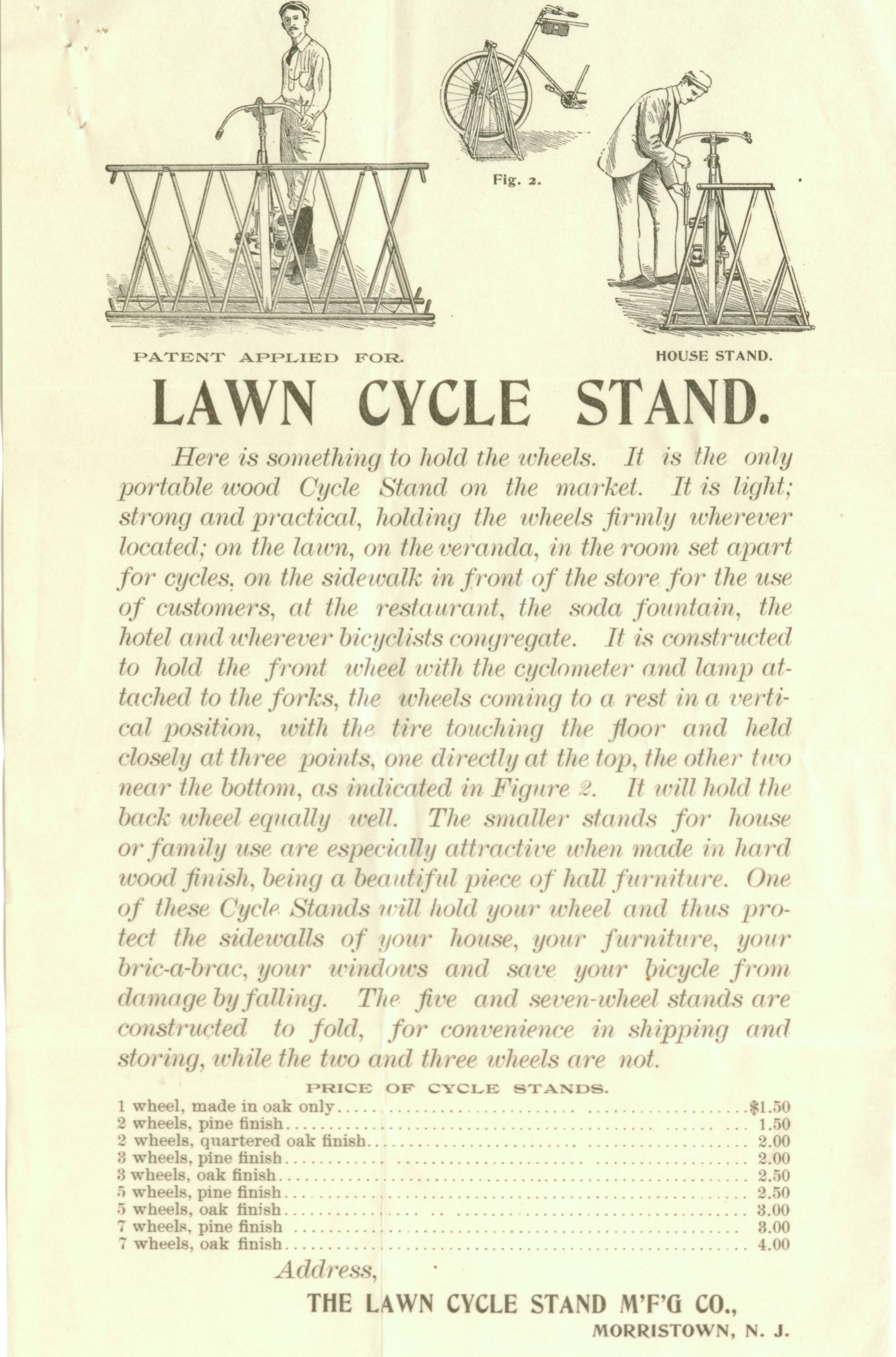 Advertising flyer from the Lawn Cycle Stand Manufacturing Co.