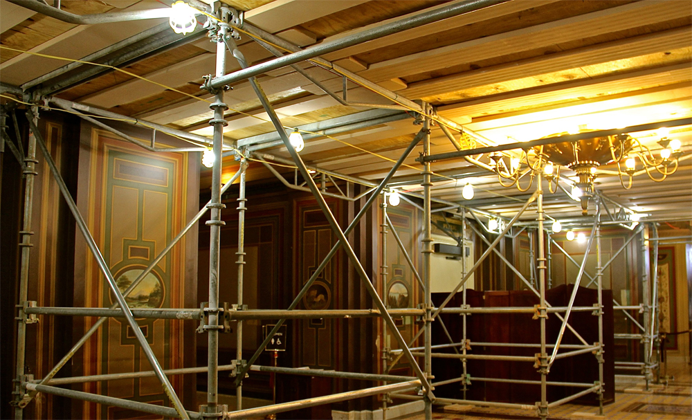 Scaffolding in the Senate Reception Area of the Brumidi Corridors
