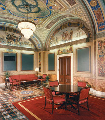 Room S-128 of the U.S. Capitol was originally designed for the Senate Military Affairs Committee.