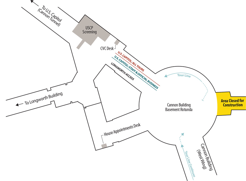 Map for the staff-led tour line during the Cannon Renewal Phase 2 closures.
