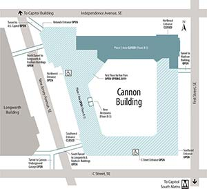 Map of Cannon House Office Building entrances and closures for Phase 2 of the renewal project.