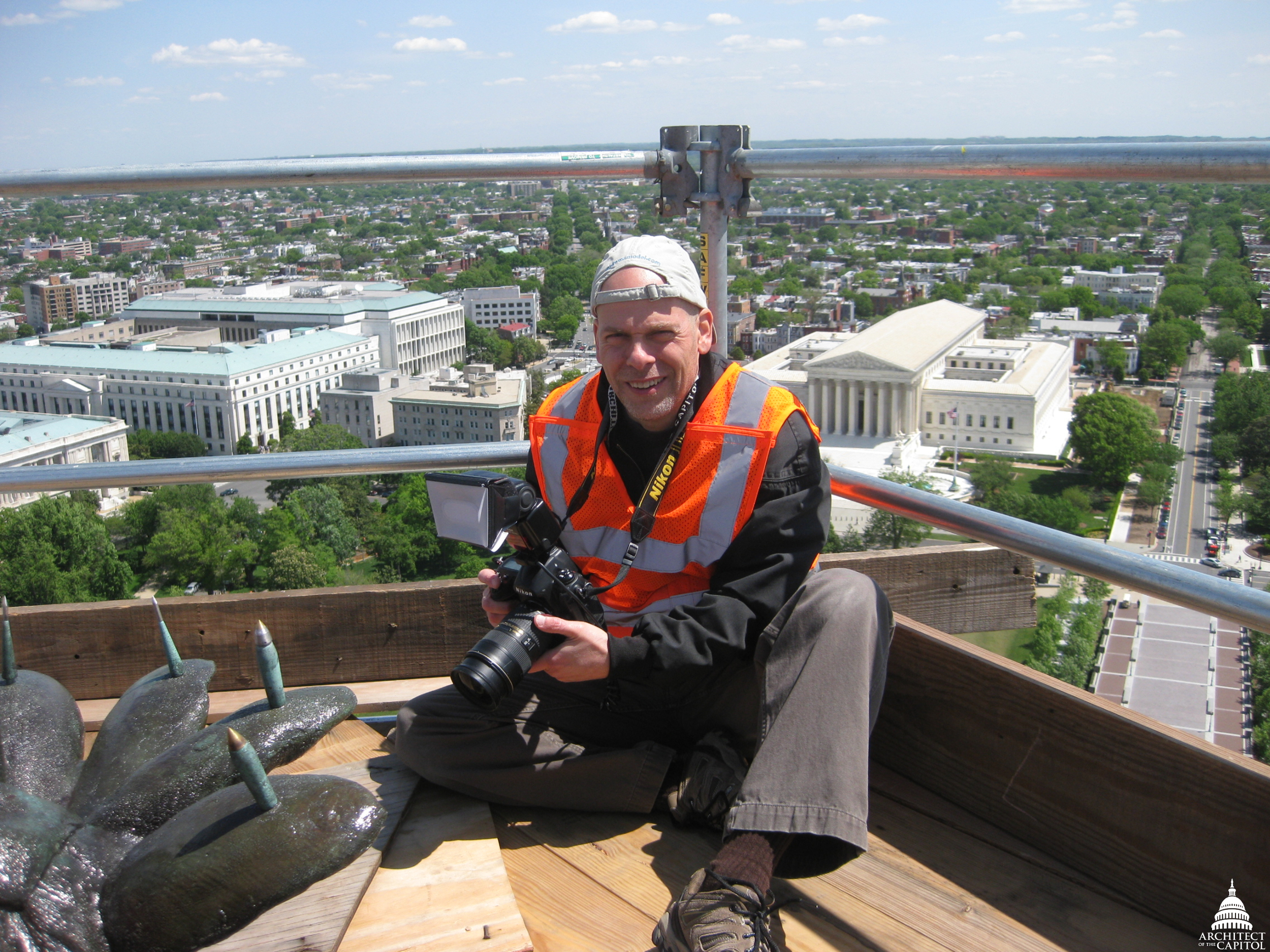 Photographs taken by Badal provide a visual record of the repair work on the U.S. Capitol Dome.