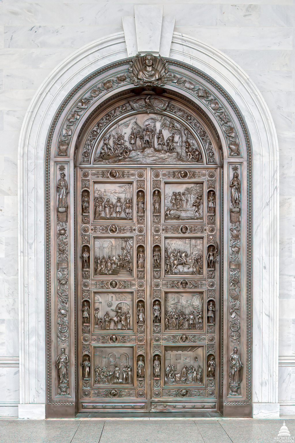 Randolph Rogers' Columbus doors are located on the east entrance to the Rotunda.