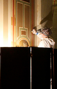 Conservators work to restore the inner corridors of the U.S. Capitol's Brumidi Corridors
