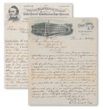 Correspondence from the 1800s revealed several companies were eager to be selected to install the prominent building's first elevator.
