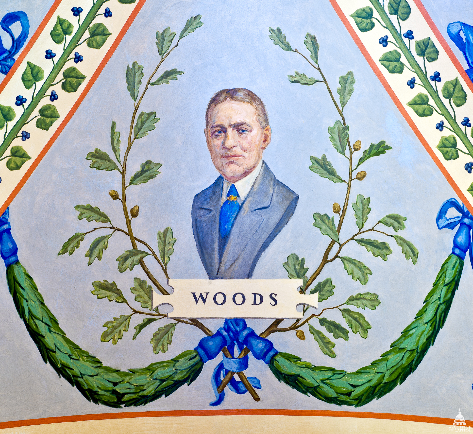 Elliott Woods' painted portrait in the U.S. Capitol's Cox Corridors.