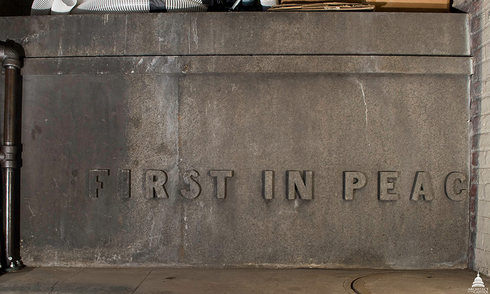 """First in Peace"" seen on the Capitol Power Plant Cornerstone."