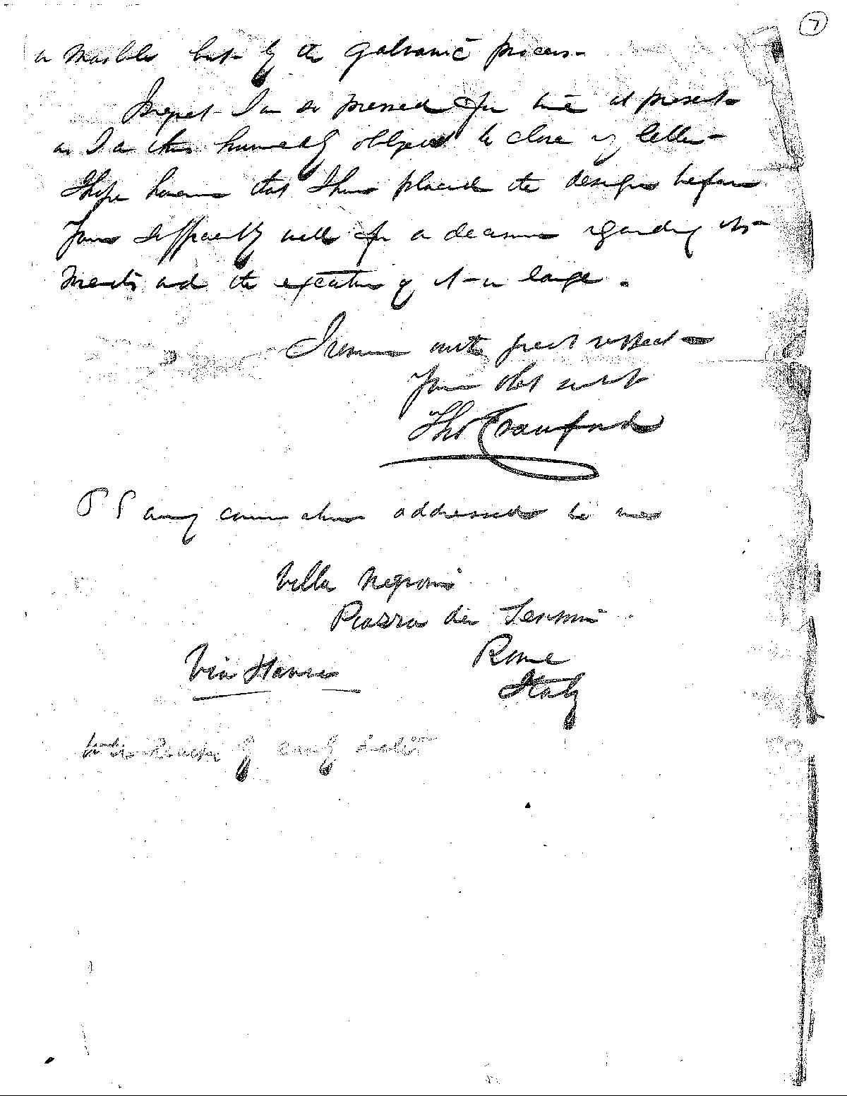 Final page of the letter Thomas Crawford wrote to Captain Montgomery Meigs about the pediment.