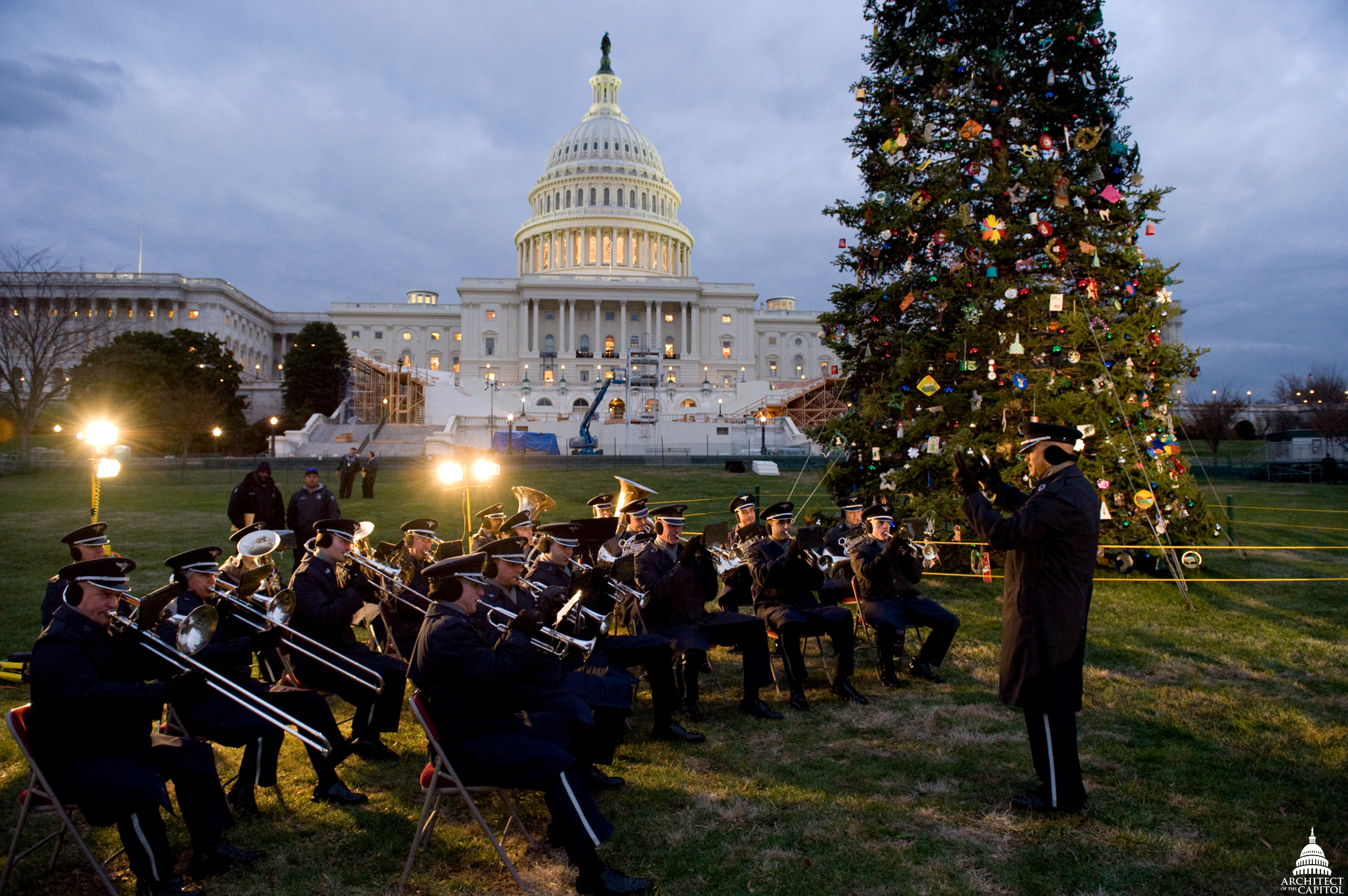Band playing during the 2008 Christmas tree lighting ceremony.