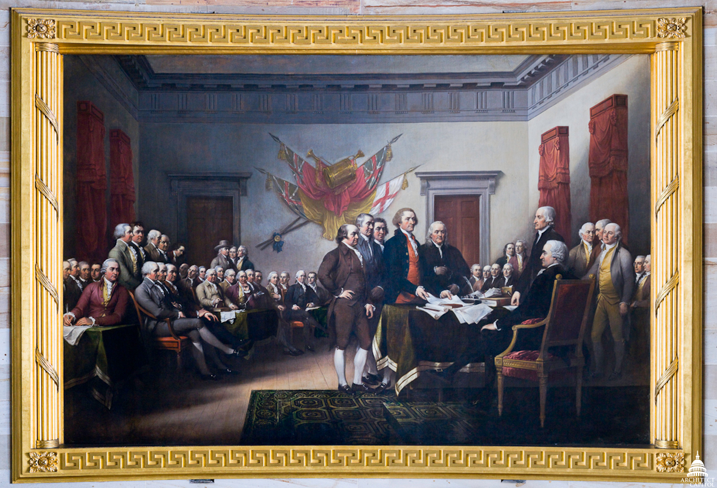 This painting of the Declaration of Independence by John Trumbull is on display in the Capitol Rotunda.