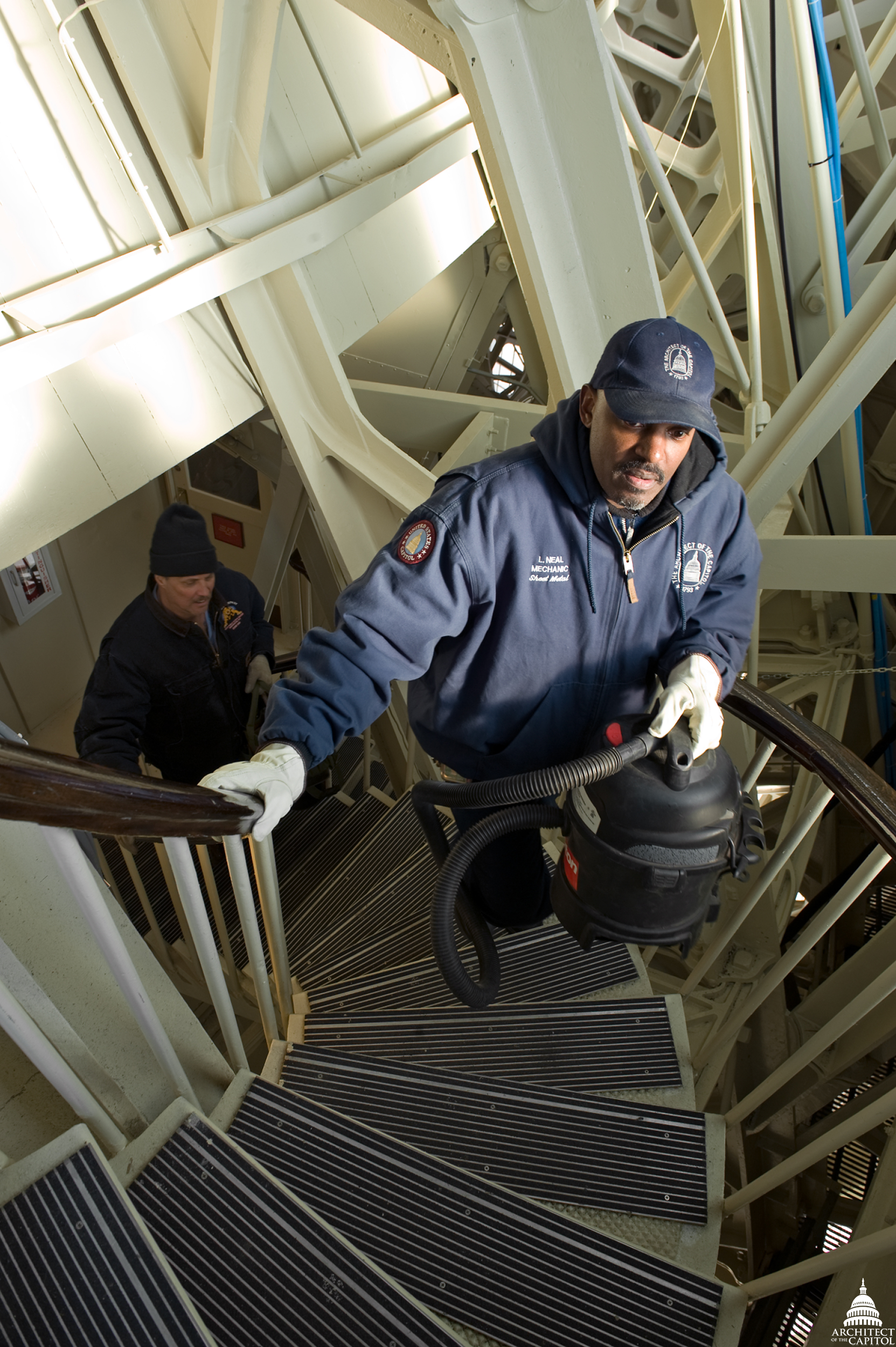 Stair stepper—making the climb up the 365 steps to the top of the Capitol is no easy feat especially when carrying equipment.