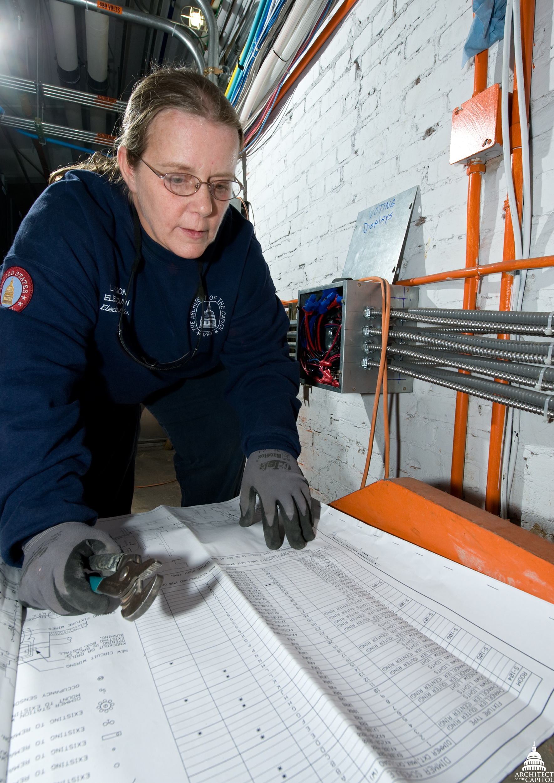 AOC Electrician Linda Henson ensures critical systems are operational inside the U.S. Capitol.