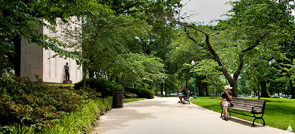 Benches to rest can be found along the tree-lined path near the Taft Memorial.