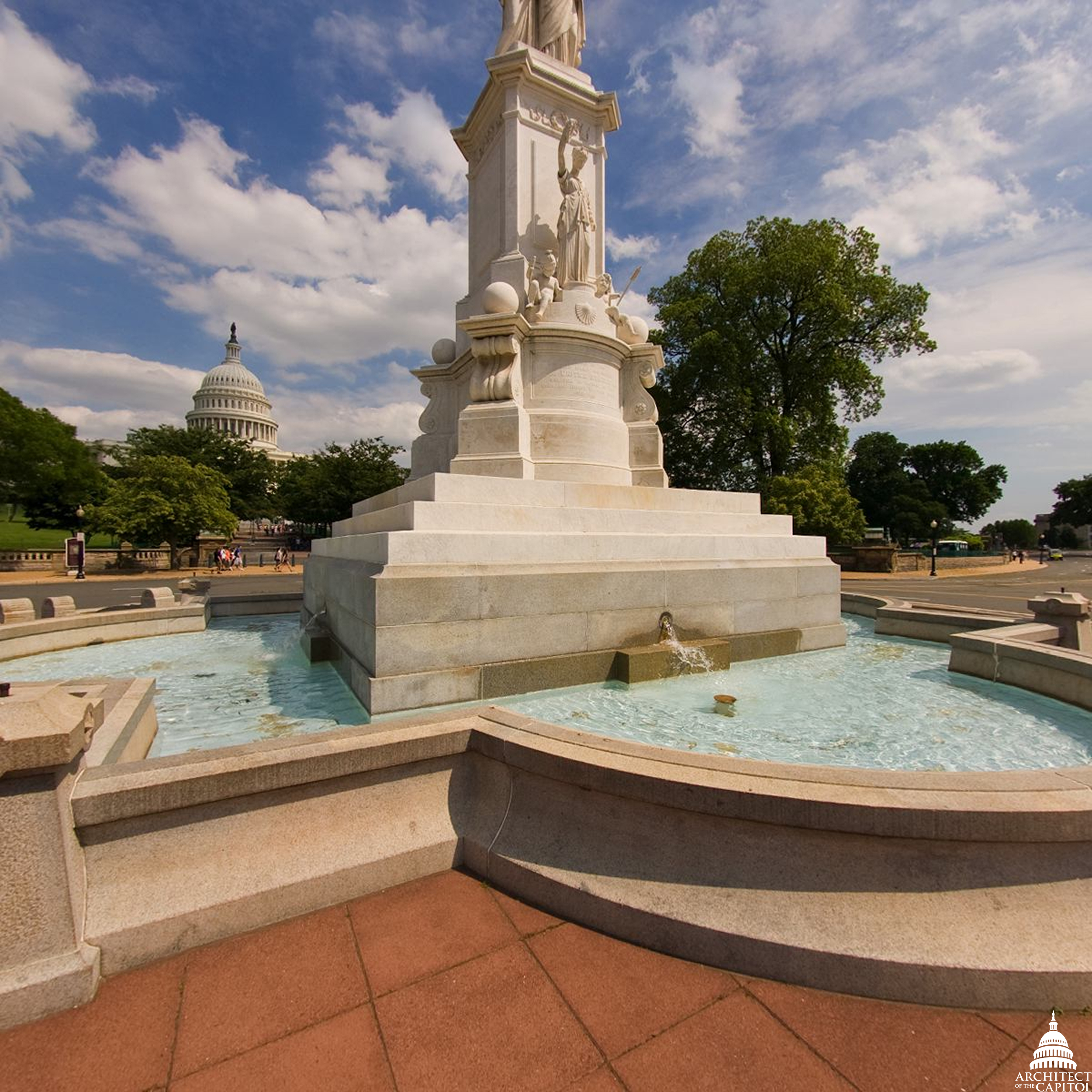 The Peace Monument with the Capitol Dome in the background.