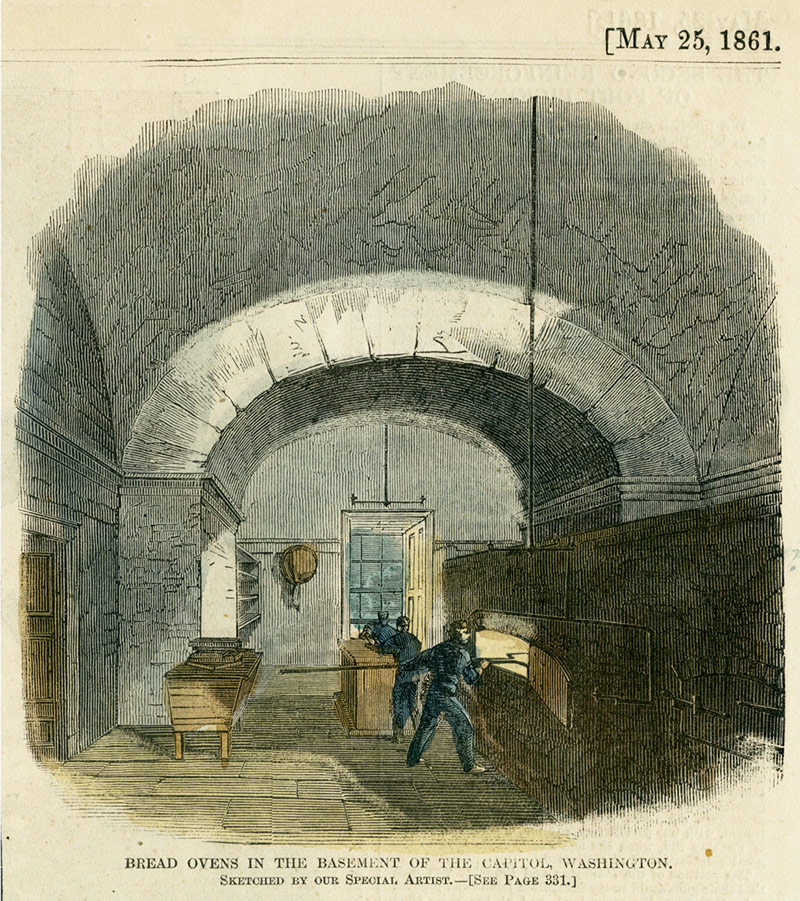 [May 25, 1861] Bread ovens in the basement of the Capitol, Washington.