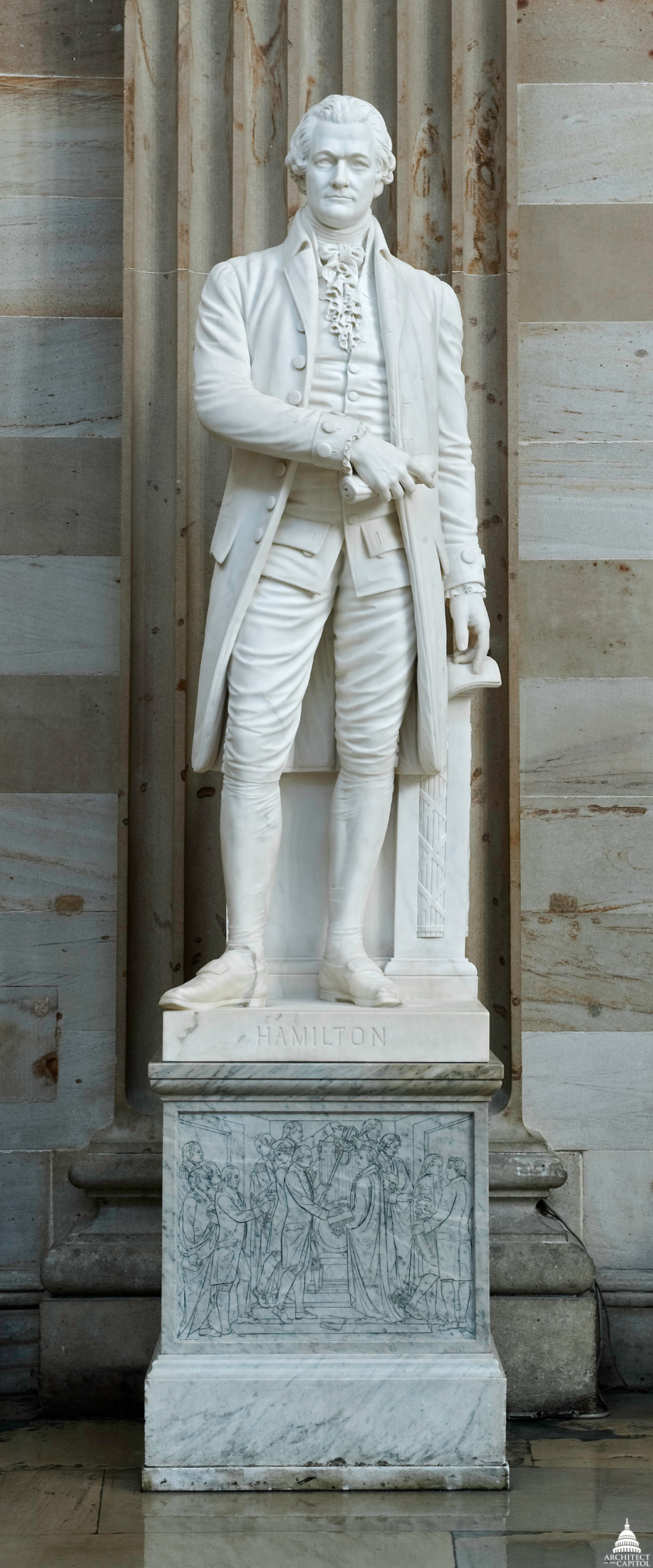 The statue of Alexander Hamilton on display in the Rotunda of the U.S. Capitol emphasizes his role in the framing of the new nation's government.