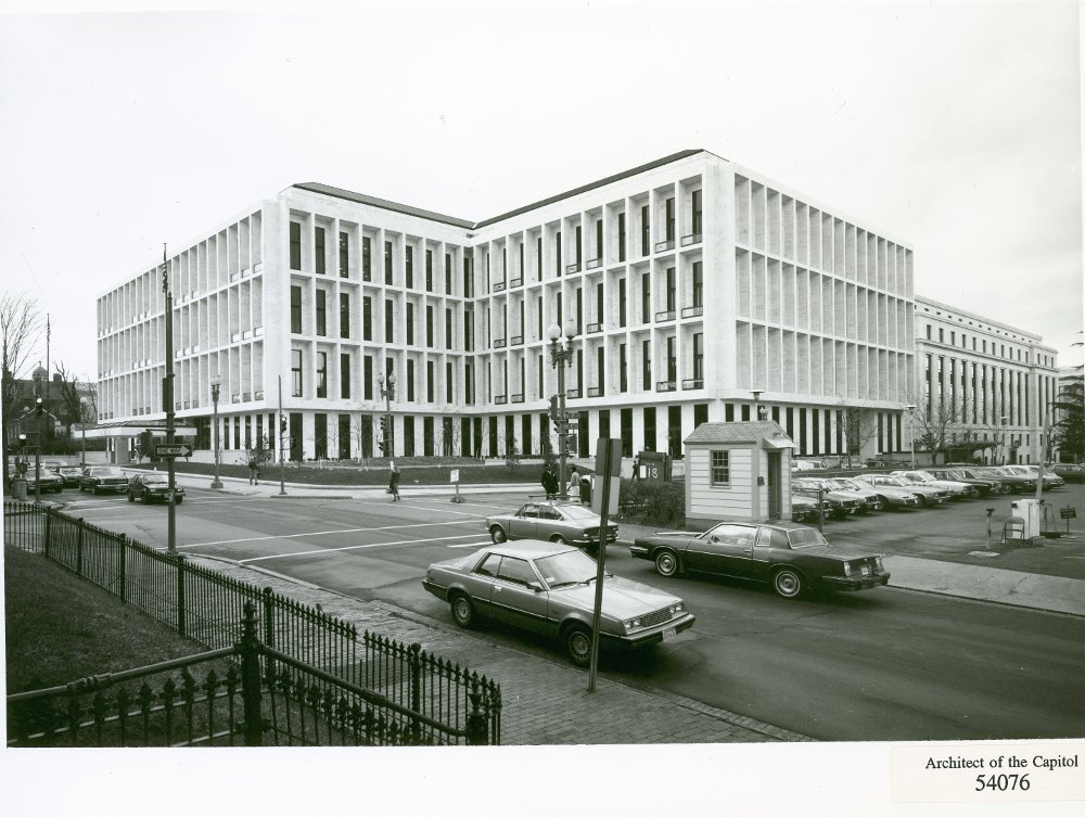 Black and white photo of the Hart Senate Office Building.