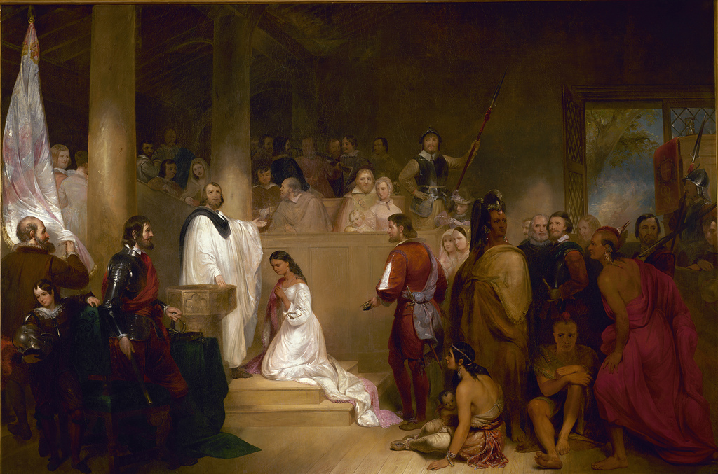 Baptism of Pocahontas is one of eight historical paintings in the U.S. Capitol Rotunda.