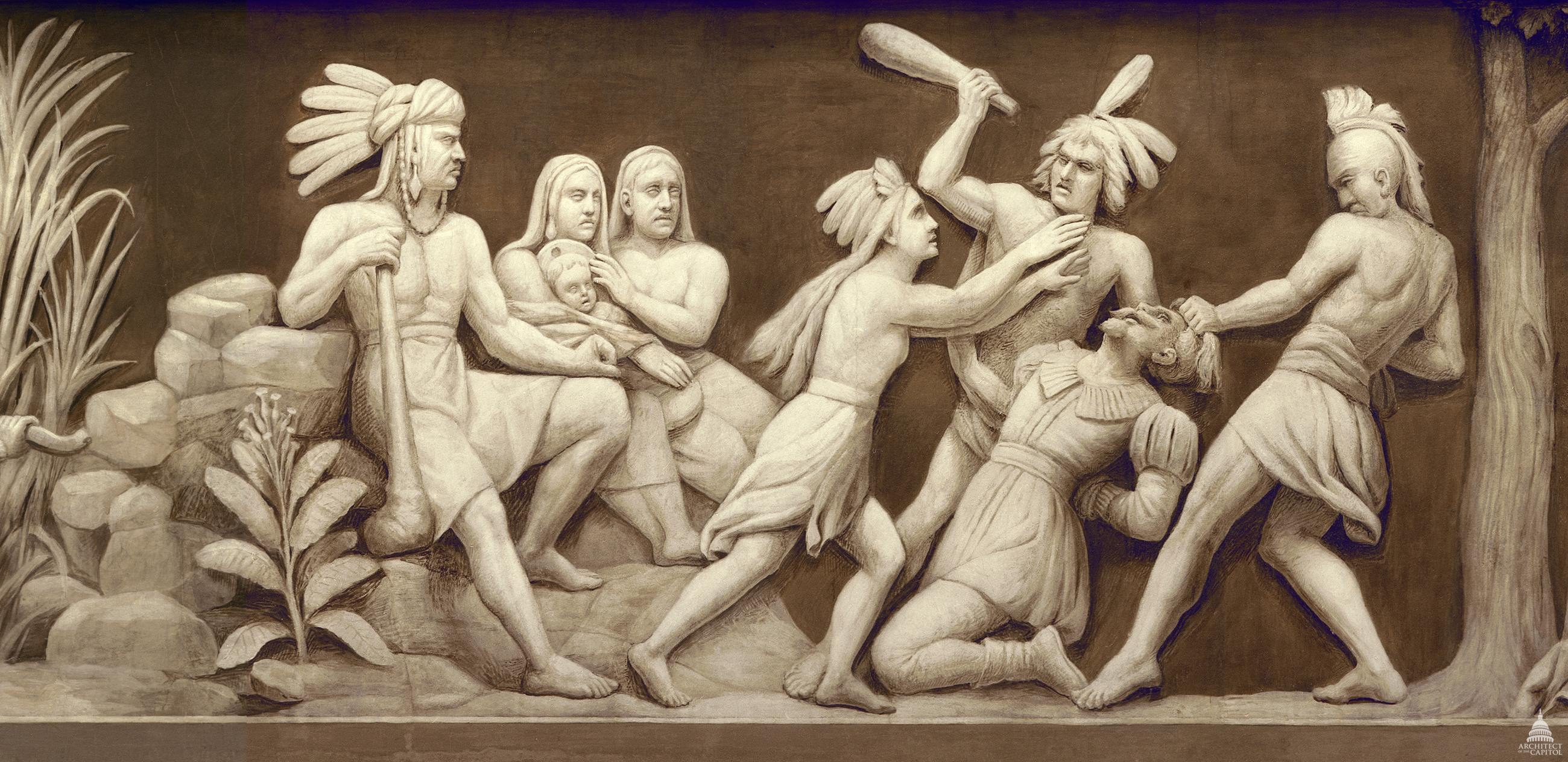 In this scene from the Frieze of American History, Pocahontas saves Captain John Smith, one of the founders of Jamestown, Virginia, from being clubbed to death