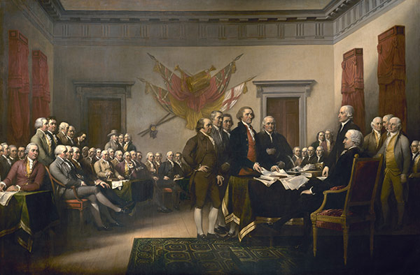 """Historic """"Declaration of Independence"""" painting in the U.S. Capitol Rotunda."""