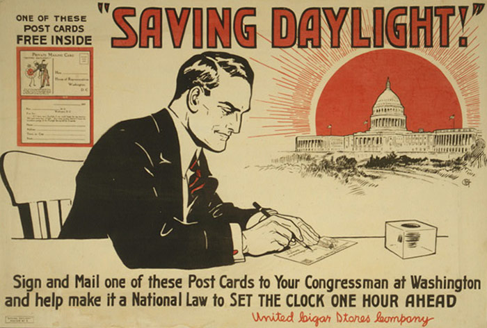 Poster to encourage citizens to write a postcard and lobby Congress in support of Daylight Savings Time.