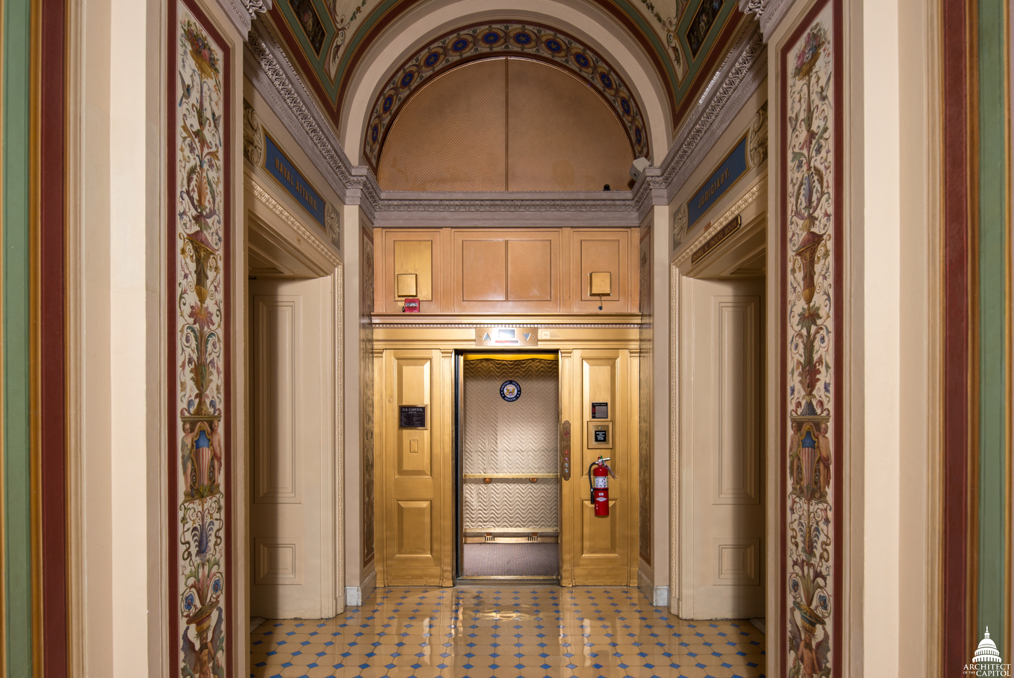 One of 330 Capitol Hill elevators maintained by the AOC.