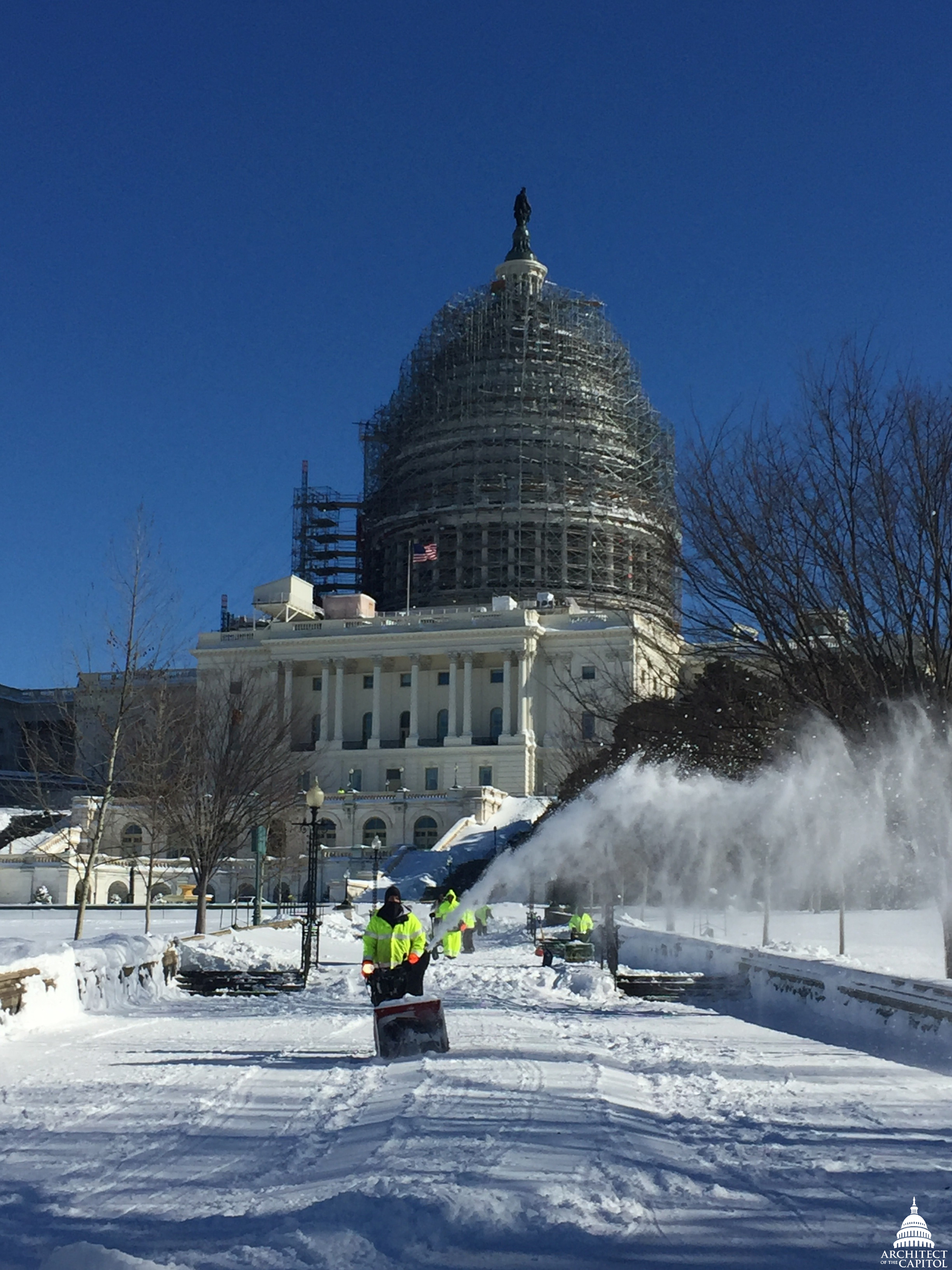 Snow removal during Snowzilla at the Capitol.