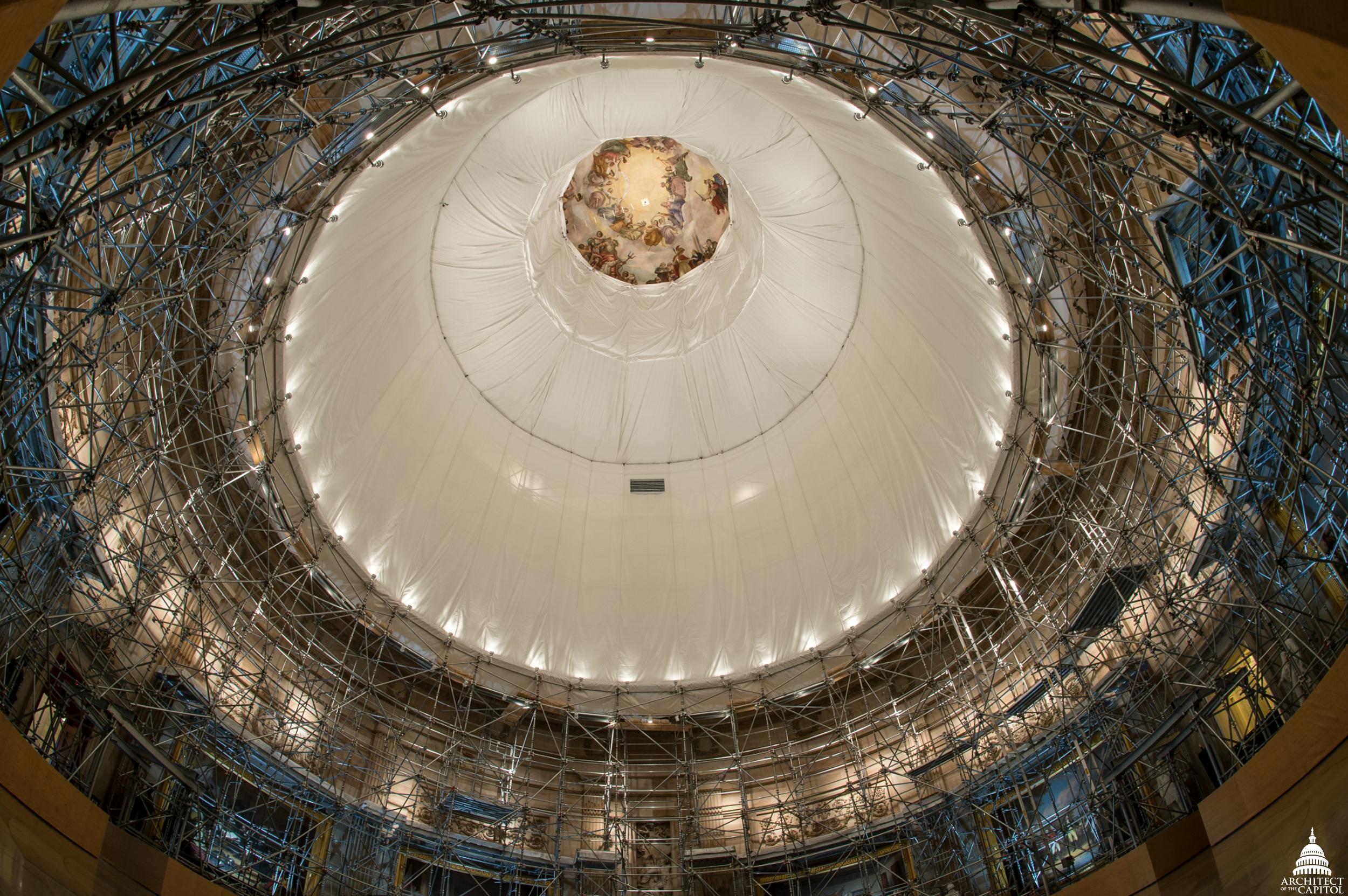 In the U.S. Capitol Rotunda, looking up towards the Apotheosis of Washington.