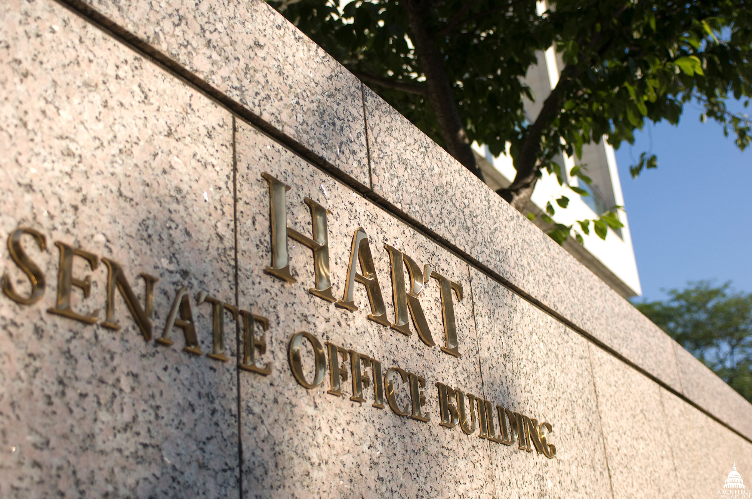 Sign outside of the Hart Senate Office Building.