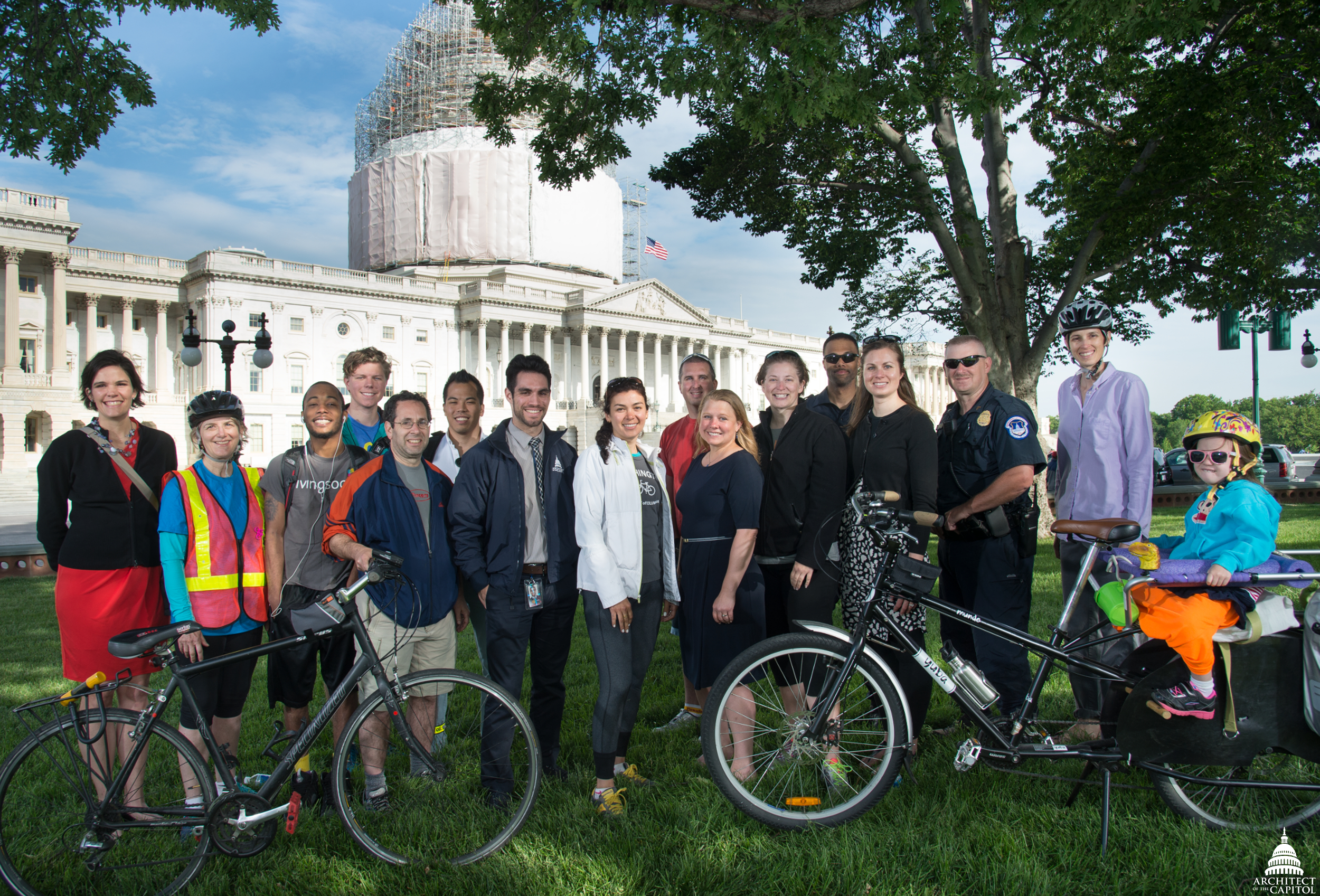 Architect of the Capitol employees pose for a group photo on Ride Your Bike to Work Day, May 2015.