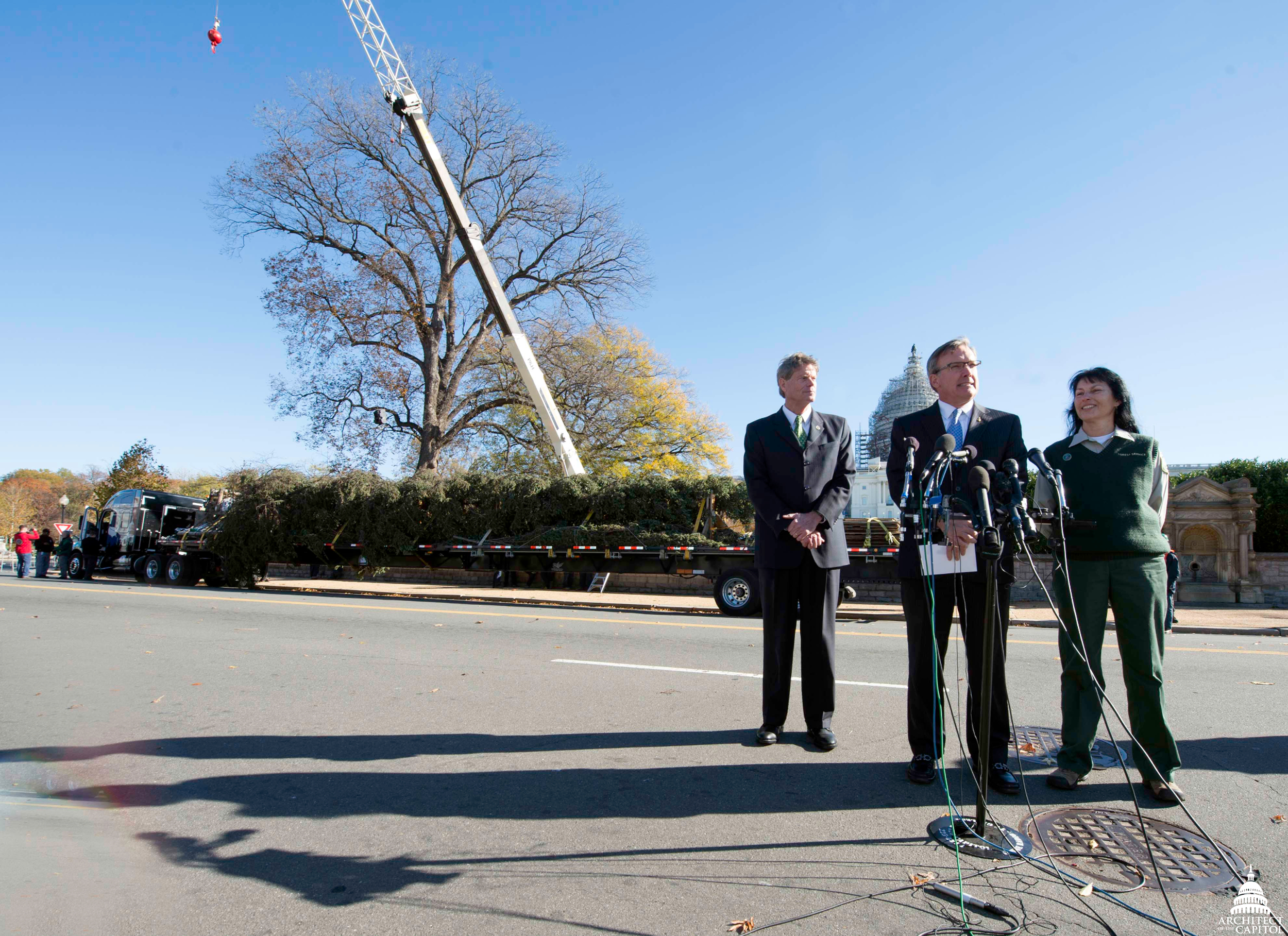 Stephen T. Ayers, Architect of the Capitol, welcomes the Capitol Christmas tree to the West Front Lawn.