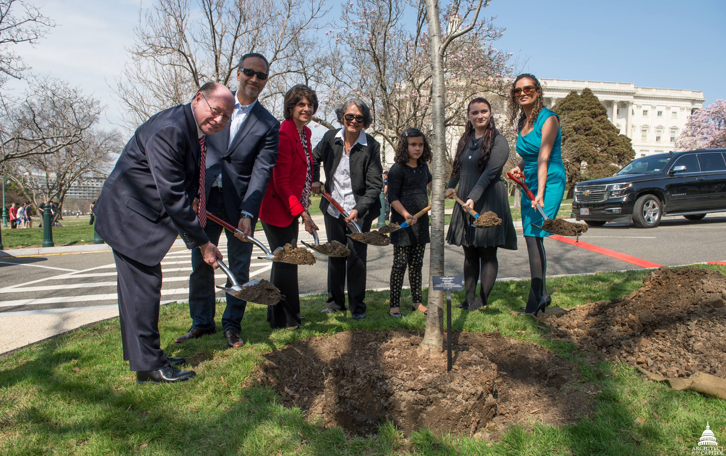Tree planting ceremony on March 16, 2016.